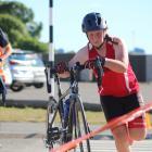Oamaru's Breana Kingan rushes her bike in. PHOTOS: KAYLA HODGE
