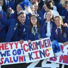 St Kevin's College pupils with their creative signs are (from left) Michael Misiloi, Megan Dodd,...