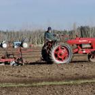 Merv Armstrong, of Oxford, ploughs using his David Brown tractor during the first day of the two...