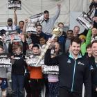 Standing before crowds of supporters on  The Amazing Mace tour at Forsyth Barr Stadium in Dunedin...