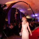 Tayla Fry models Alexandra designer Charlotte  Hurley's design. Hurley was named WoolOn 2021...