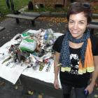 Ban the Bag Queenstown co-ordinator Esther Whitehead displays a mound of beach rubbish. Photo by...