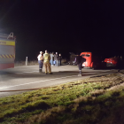 Emergency services at the scene of the crash, near Karitane. Photo by David Loughrey