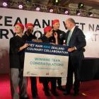 Tertiary Education, Skills and Employment Minister Steven Joyce congratulates the winning team ...