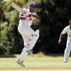 Jeet Raval hits a boundary for Auckland in the Plunket Shield. Photo: Getty Images