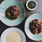 Slow-cooked shin of beef with parsnip puree and herb oil. Photos: Fiona Andersen