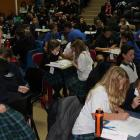 Keen spellers put pencil to paper at the Otago Daily Times Extra! spelling quiz at Cromwell...