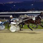 Itz Risky Business, driven by John Dunn, holds out Silver Dale to win a 2200m maiden mobile pace...