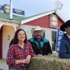 Publican Sammy Hawea (left), Verdon Reid and Larry Williamson, all of Patearoa, adopt western...