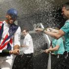 Lewis Hamilton celebrates after winning the British Grand Prix. Photo: Reuters