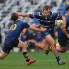 Action from today's club rugby final between Kaikorai and Dunedin. Photo: Gerard O'Brien
