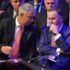 Local Government New Zealand president Lawrence Yule (left) has a word with Prime Minister John...