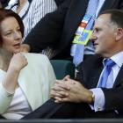 Australian Prime Minister Julia Gillard speaks to New Zealand Prime Minister John Key before the...