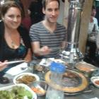 Jack Ackerman, Joong Ang Daily's cultural pages editor, and the author at a Korean BBQ restaurant.