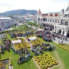 350 is spelled out in front of the Dunedin Railway Station by people visiting the Spring Food...
