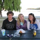 6.25am, January 1, 2012. From left, Josh Sherry (19), of Rangiora, Georgina Leask (18), of...