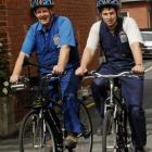 Jeff Burrow, plumber and gasfitter (left) and Jonny Goldsmith, fabrication engineer ride around...