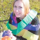 Adding more colour: Blossom festival committee member Kylie Switalla, of Alexandra, displays the...
