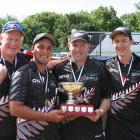The New Zealand team of (from left) Paul Girdler (skip), Shannon McIlroy, Mike Nagy and Andrew Kelly that won the fours title at the Asia and Pacific championships in Christchurch. PHOTO: BOWLS NZ