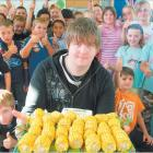 Corn for morning tea delivered and prepared by year 13 pupil Damian Scott (17), got the thumbs up...