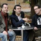 Comedians (from left) Russell Pickering, of Auckland, Aindrias de Staic, of Ireland, and Greg...