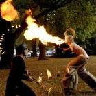 Highly flammable performers Dan Hendra (left) and Neil Dudley light up the Otago Museum Reserve....