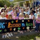 Children from Liberton Christian School sing happy birthday to Sydney Harlow (96). Photo by Jane...