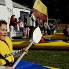 Port Chalmers School pupil Emma Hurring (8) practises kayaking skills on the school's playground...