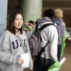 Takako Kimura is last but not least in the never-ending queue for student IDs. Photo by Jane Dawber.