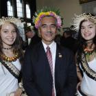 The president of Kiribati, Anote Tong, with Dunedin school pupil Iacinta Lucas (16, left) and her...