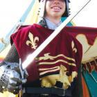 Knight in shining armour: Timaru Boys' High School medieval group member Ian Reynolds (16) keeps...