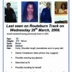 The leaflet released by the police in the search for Liat Okin.  Photo from NZ Police