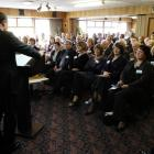 National leader John Key addresses the party's southern region conference in Dunedin last...