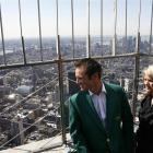 The dizzying heights . . . Masters champion Trevor Immelman, of South Africa, and his wife,...