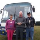 Waitaki Mayor Alex Familton (centre) chats with Margaret (68) and John Spain (70) in Palmerston...