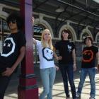 Modelling the T-shirts are, from left, Vaz Rajan, 21, Jennifer Hancox, 20, Min Oliver, 26,...