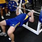 Highlanders halfback Toby Morland works out during a strength session at Logan Park yesterday....