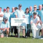 The Central Otago Wanders cricket team and supporters on their home wicket at Clyde.