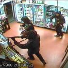 Security camera footage of the armed robbery during which liquor store co-owner Navtej Singh was...