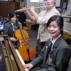 Trio Boulanger member Nanae Sato (cello), Nataqsha Dwan (flute) and Asayo Takada (piano) practice...