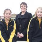 Ardgowan School principal Judy Clark, pictured with pupils Ashleigh Weir (10) and Megan McLeod ...