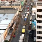 Trucks clog George St in central Dunedin this morning. Photo by Stephen Jaquiery.