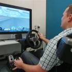Otago Daily Times reporter Sam Stevens tries his skills on the racing car simulator at the Human...