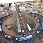 Traffic comes to a standstill in Dunedin's CBD yesterday morning when about 110 trucks clog the...
