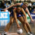 Mystics shooter Jade Topia and Steel goal keep Megan Hutton compete for the ball during their ANZ...