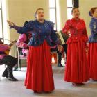 Members of a Russian folklore group perform at Iona Home in Oamaru yesterday.