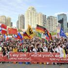 Thousands of pilgrims wait for the arrival of Pope Benedict XVI at Bangaroo for his official...