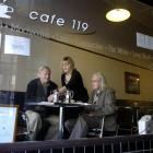 Cafe 119 stalwarts Bert Nisbet (left) and Graeme Weir (right) are served their last orders by...