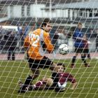 Dunedin Technical midfielder Mike Cunningham looks to have scored past Miramar Rangers keeper...