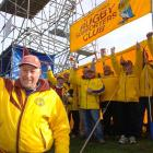 Steve Rawson and members of the North Otago Rugby Supporters Club show their support for North...